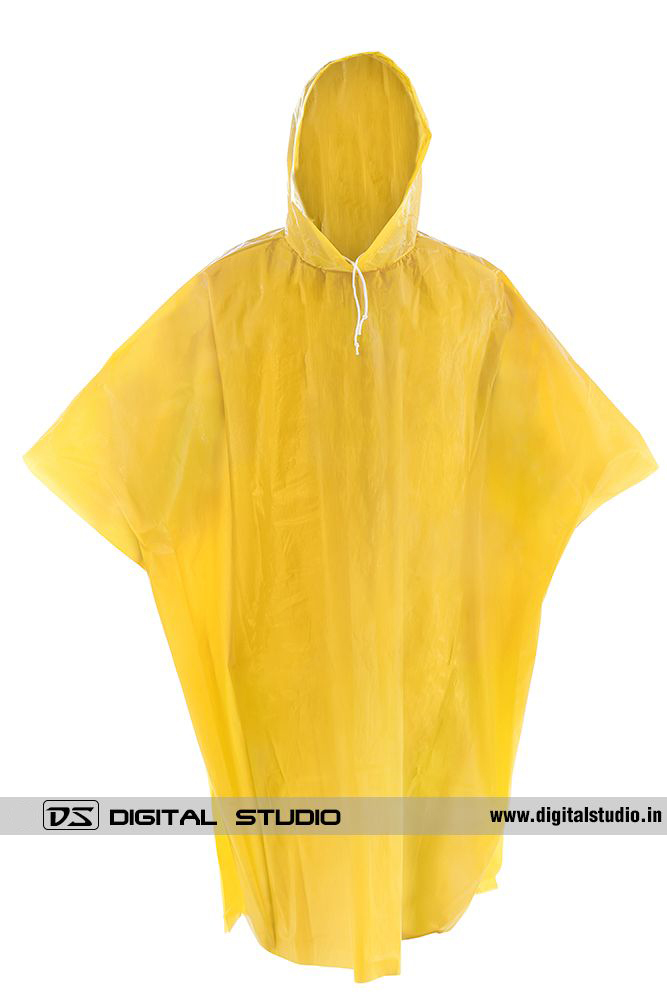 Yellow rain poncho - front view