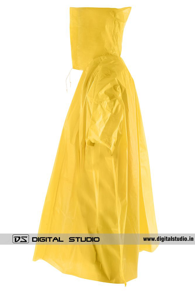 Side view of yellow rain poncho