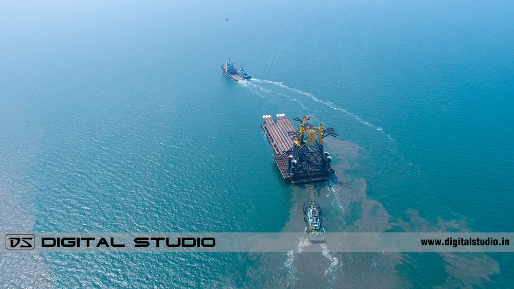Wide angle drone shot of a cargo ship