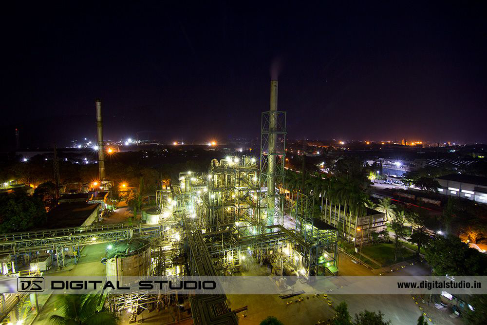 IG Petro Chemical plant at night from a tower