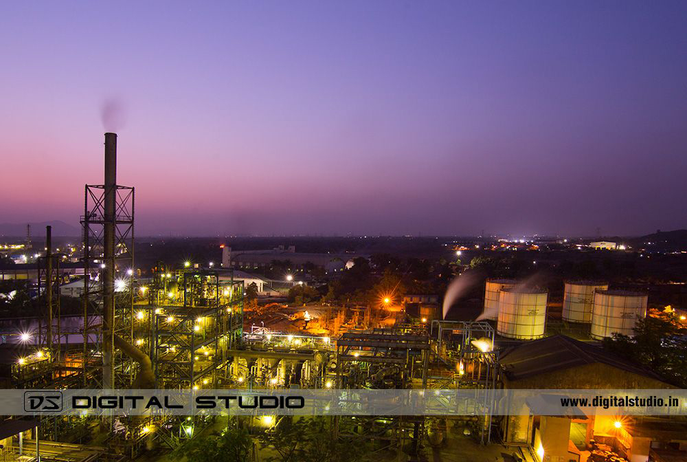 Twilight photograph of petrochemical plant
