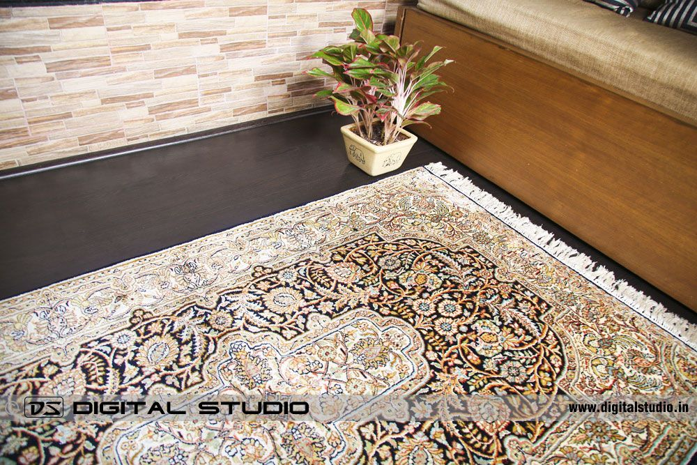 Hand made oriental carpet with flower vase