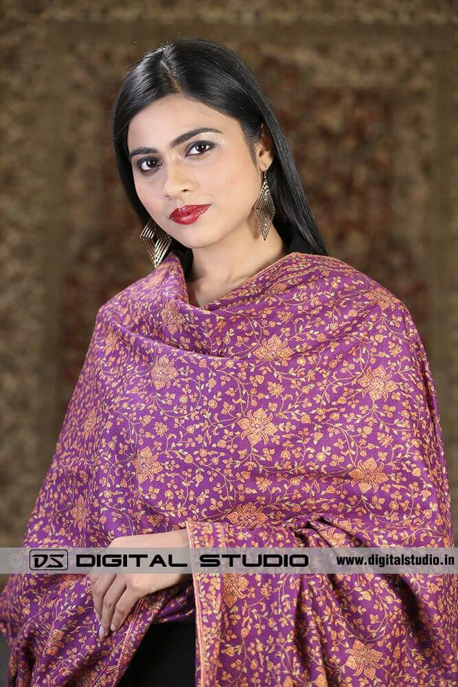Model wearing pure pashmina embroidered