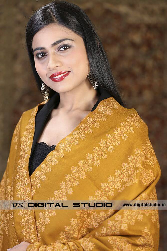 Pure pashmina embroidered shawl on a beautiful model