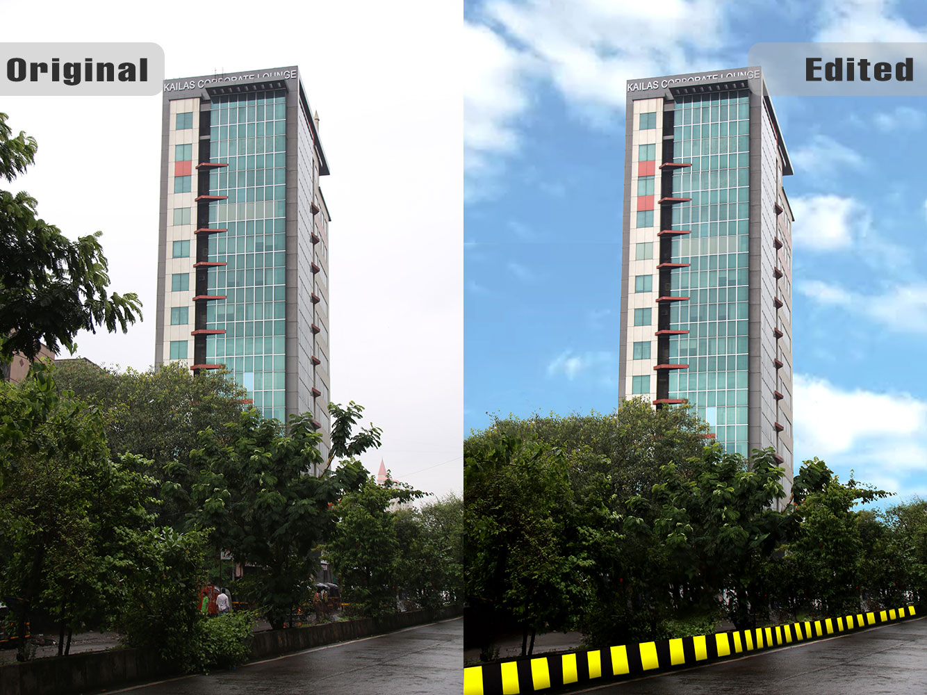 Kailash Corporate Lounge Building at Vikhroli - Before / After