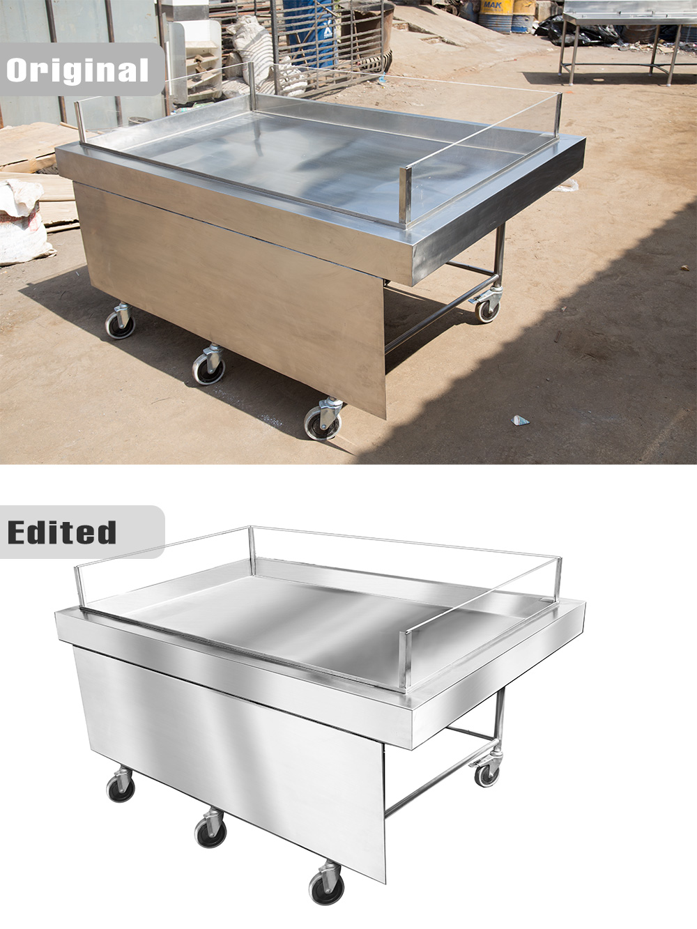 Digital high level editing of stainless steel counter
