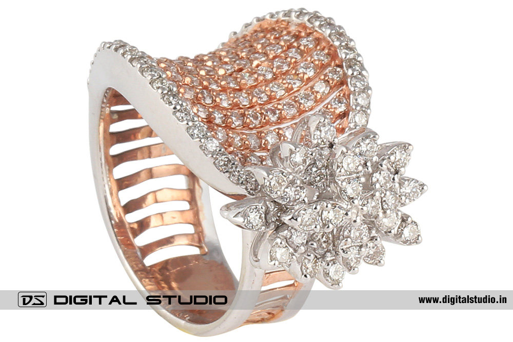 Real diamond ring in dual tone gold and platinum