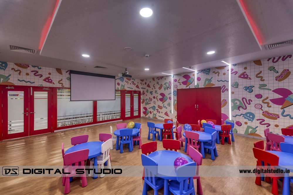 Children party hall HDR photograph with tables and chairs
