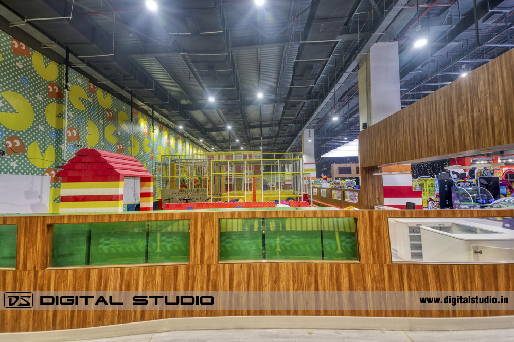 Interior HDR photograph of kids games area