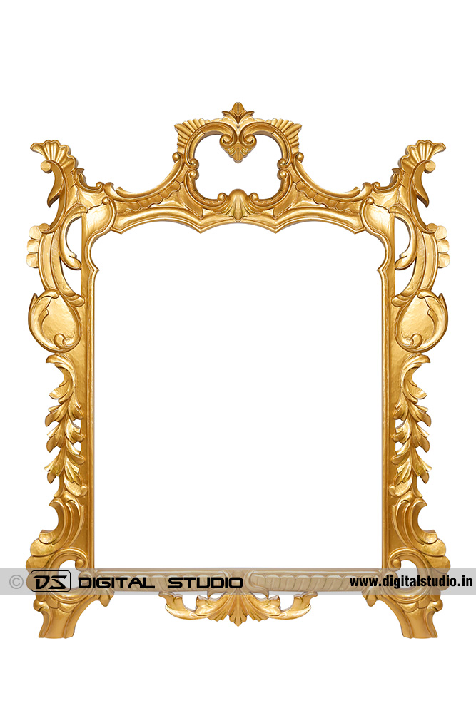 Large golden painted photo frame