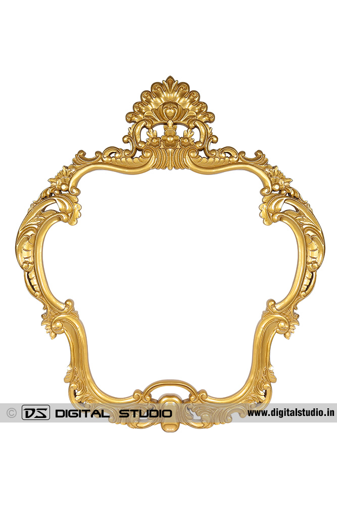 Ornate decorated golden photo frame