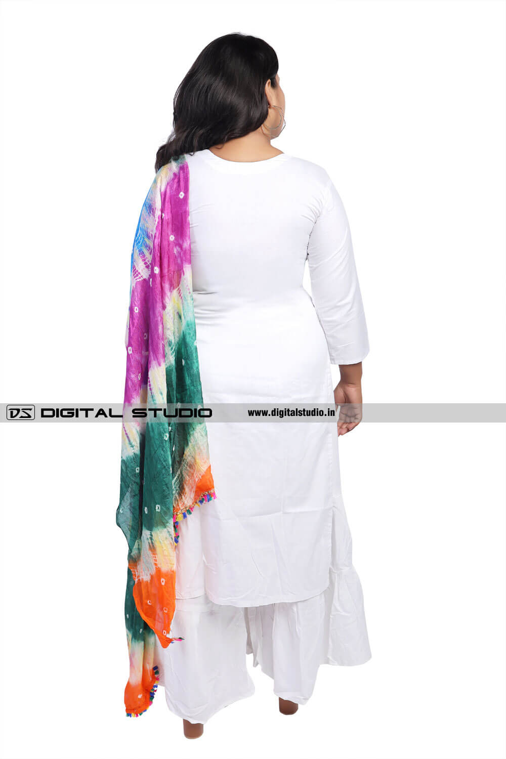 Printed dupatta and white salwar kameez