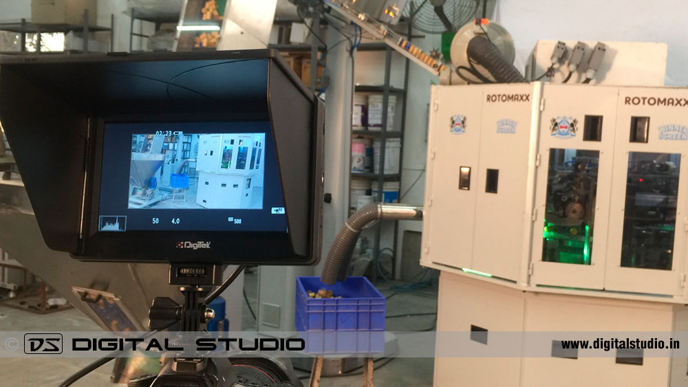 professional monitor on industiral video shoot